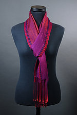 Twill Scarf in Reds and Fuschia by Mindy McCain (Tencel Scarf)