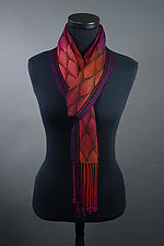 Feathers in Reds Scarf by Mindy McCain (Tencel Scarf)