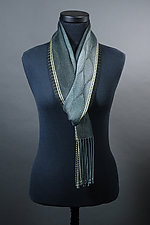 Feathers Scarf in Gray with Yellow Accent by Mindy McCain (Tencel Scarf)