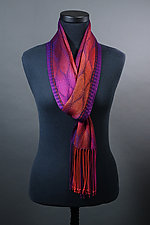 Feathers Scarf in Reds and Purples by Mindy McCain (Tencel Scarf)