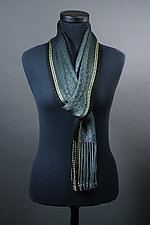 Twill Scarf in Gray with Yellow Accent by Mindy McCain (Tencel Scarf)