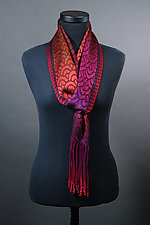 Waves Scarf in Reds and Black by Mindy McCain (Tencel Scarf)