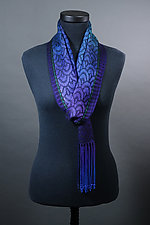 Waves Scarf in Peacock and Black by Mindy McCain (Tencel Scarf)