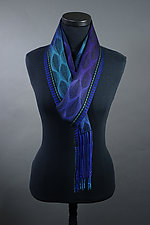 Feathers Scarf in Peacock by Mindy McCain (Tencel Scarf)