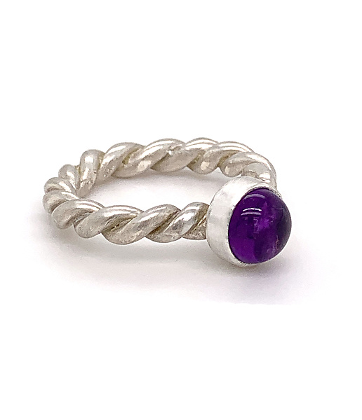 Sterling Amethyst Rope Ring