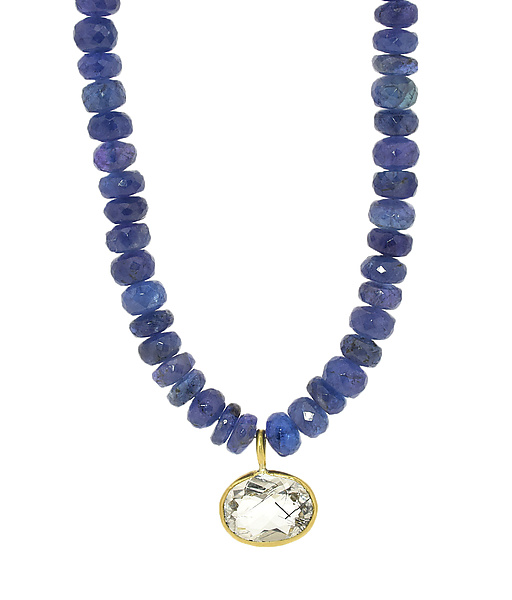 Chunky Tanzanite Pendant Necklace with Rutile Quartz