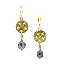 Bouton 18k Gold Earrings with Pearls by Lori Kaplan (Gold & Pearl Earrings)