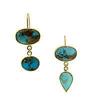 Persian Turquoise Earrings II by Lori Kaplan (Gold, Silver & Stone Earrings)