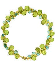 Signature Bracelet in Peridot & Aqua Apatite by Lori Kaplan (Beaded Bracelet)