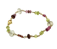 Multi Stone Vision Bracelet in Pinks and Greens by Lori Kaplan (Gold, Silver & Stone Bracelet)