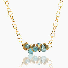 Signature Mini Apatite Necklace by Lori Kaplan (Gold & Stone Necklace)