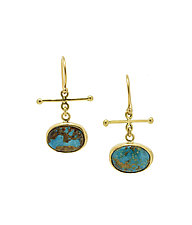Persian Turquoise Crossbar Earrings by Lori Kaplan (Gold & Stone Earrings)