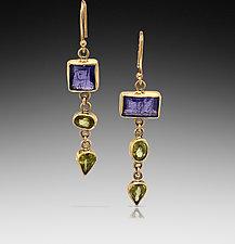 Tanzanite and Sphene Drop Earrings by Lori Kaplan (Gold & Stone Earrings)