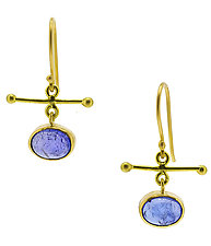 Tanzanite Crossbar Drop Earrings by Lori Kaplan (Gold & Stone Earrings)