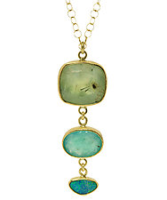 Summer Breeze Tier Necklace by Lori Kaplan (Gold & Stone Necklace)