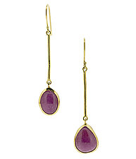 Cabochon Ruby Earrings by Lori Kaplan (Gold & Stone Earrings)
