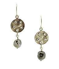 Bouton Black Pearl Earrings by Lori Kaplan (Silver & Stone Earrings)