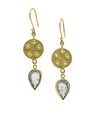Moss Aquamarine Bouton Earrings by Lori Kaplan (Gold & Stone Earrings)
