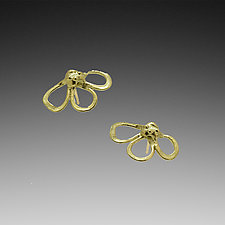 He Loves Me Flower Earrings by Lori Kaplan (Gold Earrings)