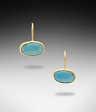 Kingman Turquoise Earrings by Lori Kaplan (Gold & Stone Earrings)