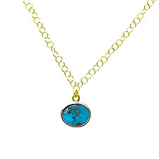Persian Turquoise Pendant Necklace by Lori Kaplan (Gold, Silver & Stone Necklace)