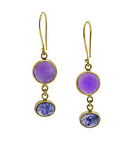 Tanzanite and Amethyst Drop Earrings by Lori Kaplan (Gold and Stone Earrings)