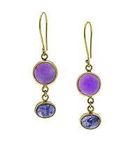 Tanzanite and Amethyst Drop Earrings by Lori Kaplan (Gold and Stone Earrings)