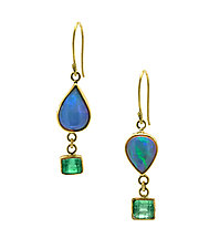 Opal and Emerald Earrings by Lori Kaplan (Gold & Stone Earrings)