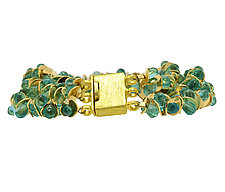 Signature Three-Strand Aqua Apatite Bracelet by Lori Kaplan (Gold & Stone Bracelet)