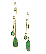 Long Opal & Emerald Drop Earrings by Lori Kaplan (Gold & Stone Earrings)