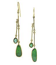Long Opal & Emerald Drop Earrings by Lori Kaplan (Gold & Stone Earrings)