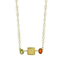 Opal Peridot Carnelian Choker by Lori Kaplan (Gold & Stone Necklace)