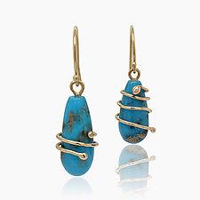 Persian Turquoise Gold Drops by Lori Kaplan (Gold & Stone Earrings)