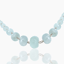 Aquamarine Sterling Necklace by Lori Kaplan (Silver, Pearl & Stone Necklace)