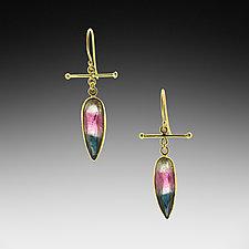 Watermelon Tourmaline Crossbar Earrings by Lori Kaplan (Gold & Stone Earrings)