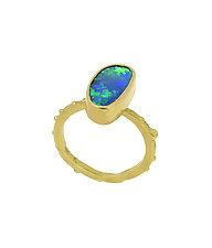 Boulder Opal Stacking Ring by Lori Kaplan (Gold & Stone Ring)