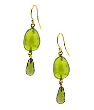 Peridot and Tourmaline Drop Earrings by Lori Kaplan (Gold & Stone Earrings)