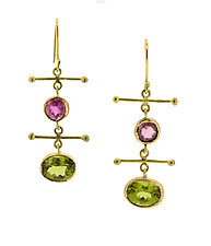Pink Tourmaline and Peridot Drop Earrings by Lori Kaplan (Gold & Stone Earrings)