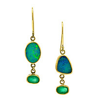 Opal Emerald Drop Earrings by Lori Kaplan (Gold & Stone Earrings)