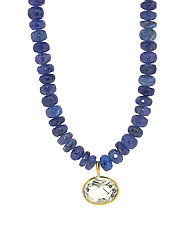 Chunky Tanzanite Pendant Necklace with Rutile Quartz by Lori Kaplan (Gold & Stone Necklace)