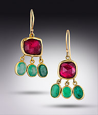 Rubelitte Emerald 18K Earrings by Lori Kaplan (Gold & Stone Earrings)