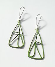 Green & White Earrings by Eliana Arenas (Silver & Brass Earrings)