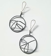 Gray & White Earrings by Eliana Arenas (Silver & Brass Earrings)