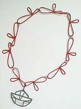 Red & Gray Necklace by Eliana Arenas (Brass & Steel Necklace)