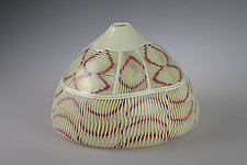 Low Abstract Fish Scale Pot by Marc Petrovic (Art Glass Vessel)