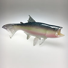 Rainbow Trout I by Marc Petrovic (Art Glass Sculpture)