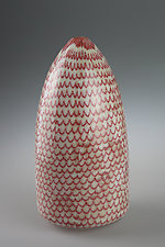 Red Fish Scale Pot by Marc Petrovic (Art Glass Vessel)