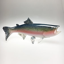 Rainbow Trout IV by Marc Petrovic (Art Glass Sculpture)
