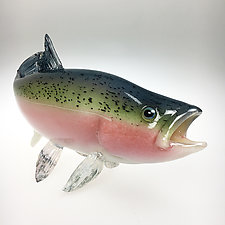 Rainbow Trout III by Marc Petrovic (Art Glass Sculpture)