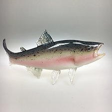 Rainbow Trout II by Marc Petrovic (Art Glass Sculpture)
